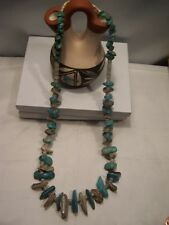 Native American Santo Doming 27 inch large Kingman Turquoise & Abalone Red Shell
