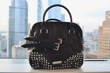 100% AUTH PRE-OWNED SLIGHTLY USED! BURBERRY STUDDED LEATHER BOWLING BAG