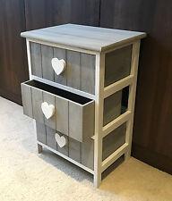 GRIS meuble rangement 3 tiroirs table de chevet pour enfants Meuble Cœur Vintage