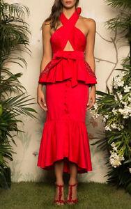 JOHANNA ORTIZ Antillana Ruffled Cotton Halterneck Midi Dress