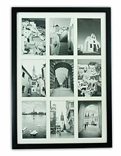13.6x19.7 Black Wood Collage Frame w/t REAL GLASS & White Displays (9) 4x6 photo