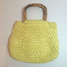 Vintage Byck's Yellow Plastic Straw Purse With Wood Handles