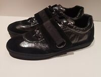 Soprani Uomo black patent leather suede mens casual shoes trainers UK 9 EU 43