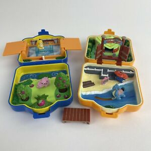 Vintage Pokemon Polly Pocket By Tomy 1997 Compact Case Miniature Toy Sets 4 Figs