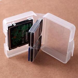 Transparent CF/SD Card Compact Flash Memory Card Holder Box Storage Plastic Case