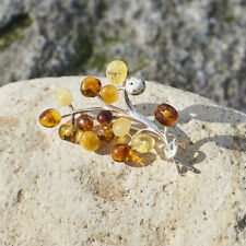 Natural Baltic Amber Brooch Handmade Sterling Silver Clasp Tree Shaped Beaded