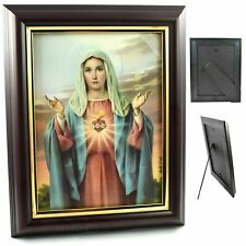 More details for immaculate sacred heart of mary wooden framed picture 25x20cm wood frame print