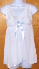NEW WOMENS SIZE LARGE PASSION FOREVER WHITE  BABYDOLL SET LINGERIE W/THONG
