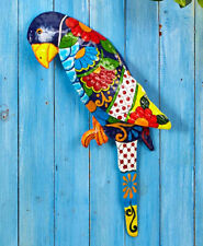 Tropical Metal Parrot Wall Sculpture Indoor Outdoor Home Decor Vibrant Colors