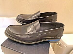 PRADA MEN'S ZJY BRIGHT CALF BLUE LOAFERS,PREOWEND,SZ.8,PRADA# 2DE034