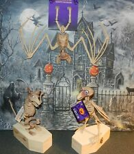"""LOT Of (3) 7 1/4"""" Crow, Rat, &  Bat Skeleton's With Wiggle Eyes Head"""