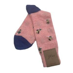 J. Crew Men's Dress Socks, Mermaid Print, Pink with Blue