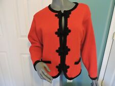 Womens Vintage Tally Ho Frog Closure Acrylic Cardigan Sweater Red Sz L Vgc