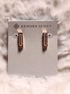 New Kendra Scott Lady Stud Earrings In Ivory Pearl / Matte Rose Gold