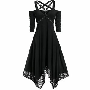 Gothic Mini Dress with Laces 3/4 Sleeve Open Shoulders - Uk Seller