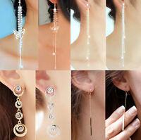 Woman Crystal Rhinestone Long Tassel Chain Hook Ear lines Dangle Earrings 1 Pair