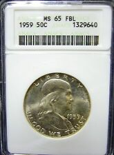 TMM* 1959 Certified Silver Franklin Half Dollar ANACS MS65 FBL