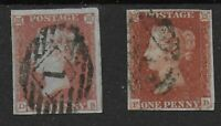 SG8. 1d.Red-Brown. 2 Very Fine 4-Margin Examples. Pair Cat.£60.  Ref.0/98