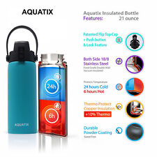 New Aquatix Turquoise Insulated FlipTop Sport Bottle 21 oz Pure Stainless Steel