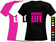 CHOOSE LIFE Wham 80's Fitted T Shirt Blk/Pink M/L 12-14