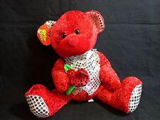 "Valentine RED TEDDY BEAR 12"" Plush Silver SPARKLE VEST Good Stuff"