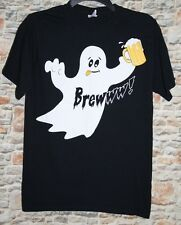 "Jerzees Mens SMALL T Shirt ""Brewww!"" White Ghost with Beer Black Halloween Party"