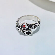 I01 Journey Ring Silver 925 With Spiralornament Red Crystal Adjustable Size