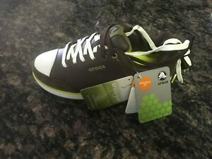 CROCS GOLF WITH HANK HANEY  MEN'S Brown LEATHER GOLF SHOES SIZE 7.5