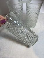 Vintage Opalescent Raised Diamond Quilted Drink Glasses Mid Century 4
