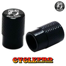2 Black Billet Knurled Tire Valve Cap Motorcycle - POW MIA - 001