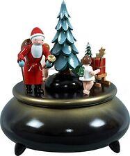 Carillon Babbo Natale, 2 ANGELO CON SLITTA BLU D= 18,5 cm NUOVO Carillon