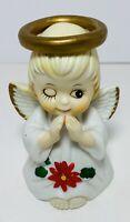 "Christmas Angel Winking Ceramic 4"" Bell Figurine Vintage Taiwan ROC"