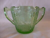 Cherry Blossom Green Depression Glass Sugar Bowl by the Jeannette Glass Co.# 695