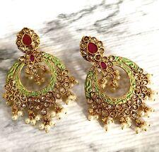 Jhumka Indian Earrings Jhumki Kundan Bollywood Jewelry Mint Green Ruby Jhumka