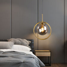 Contemporary Single Glass Globe LED Gold Round Ring Hanging Pendant Lights DIY