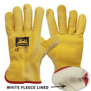 Yellow Leather Gloves HGV Drivers Fork Lift Truck Lorry Driving Safety Glove