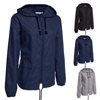 Women Warm Zipper Jacket Trench Lady Packable Waterproof Hooded Hoodies Raincoat