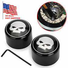 Skull Front Axle Nut Cover Cap For Harley Softail Dyna V-Rod Sportster 1200 883
