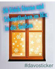 50 Sterne & Schneeflocken Aufkleber Fenstertattoo Winter Weihnachten Dekoration