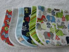 Pack of 6 Flannelette Burp Cloths Blue Green & Red Dinosaurs Handmade