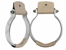 """Showman OXBOW Lightweight ENGRAVED ALUMINUM 5.5"""" STIRRUPS Leather Covered Tread"""