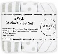 3 Pack Bassinet Fitted Sheet Set 100% Jersey Gray Cotton Baby Girl/Boy NODNAL Co