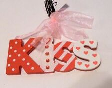 PINK & WHITE JEWELED KISS WOOD VALENTINES DAY SIGN GIFT DECORATION