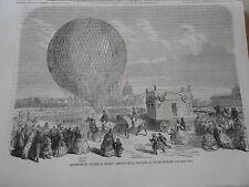 Gravure 1863 - Ascension du Ballon Le Géant arrivée de la nacelle