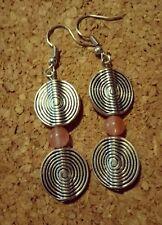 Tibetan Silver & Strawberry Quartz drop earrings - AUSSIE HANDMADE