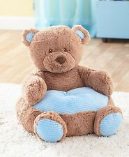 TODDLER KIDS PLUSH ANIMAL SHAPED ULTRA SOFT BLUE BEAR NURSERY CHAIR FURNITURE