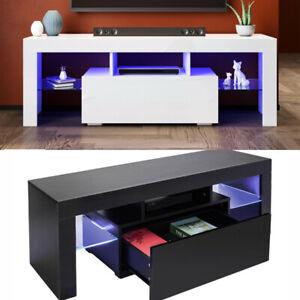 Modern TV Stand Matt Cabinet Unit 130CM Width High Gloss Door Drawer LED Lights