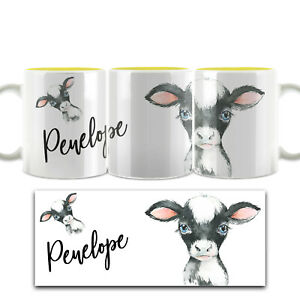 Personalised Mug, Customised with Name, White and Yellow (11oz) Cow/Dinosaur Cup