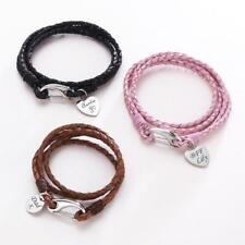 Leather Bracelets for Men & Women, Personalised with Engraving! Pink,Brown,Black
