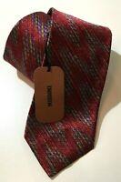 "Missoni Silk Tie Men's Necktie Red Geometric Made In Italy 59"" x 3"""